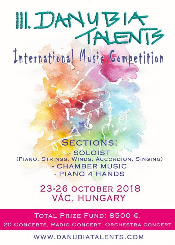 3. Danubia Talents International Music Competition 22.10.2018-26.10.2018